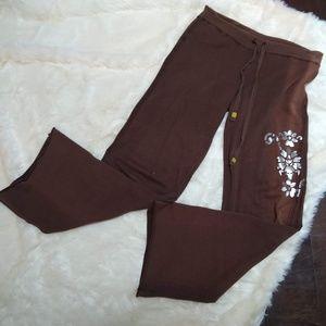 Yogi | Drawstring Waist Silver Embellished Pants